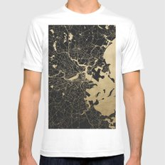 Boston Gold and Black Invert MEDIUM Mens Fitted Tee White