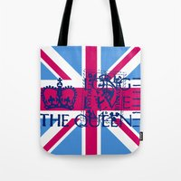 british flag Tote Bags featuring British Flag in Pink by GraphicDivine