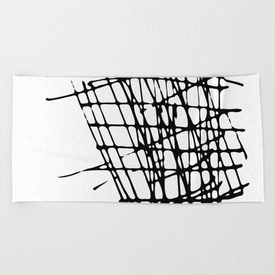 Sketch Black and White Beach Towel