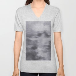 Fusion Abstract Watercolor Blend Pantone Lilac Gray / Fluid Art Ink Unisex V-Neck