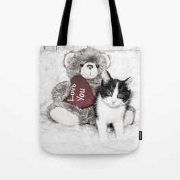 Valentines kitten and teddy Tote Bag