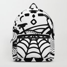 Vintage Mexican Skull with Bicycle - black and white Backpack