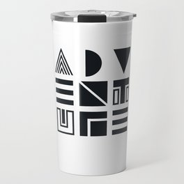 Geometric Adventure B&W Travel Mug