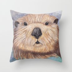 Surprised Otter Throw Pillow