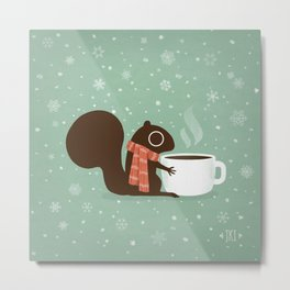 Cute Squirrel Coffee Lover Winter Holiday Metal Print