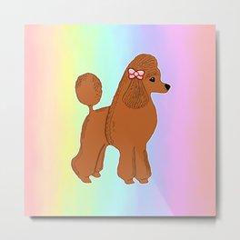 Red Poodle with Pastel Rainbow Metal Print