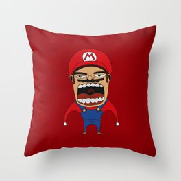 Screaming Mario Throw Pillow