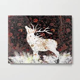 Moonlight Elk Reverse White Metal Print