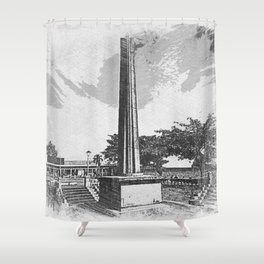 park obelisk sketch Shower Curtain