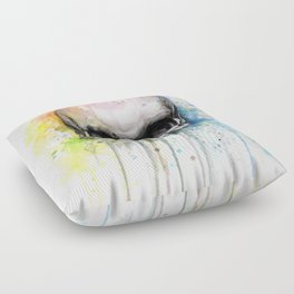 Skull Rainbow Watercolor Painting Skulls Floor Pillow