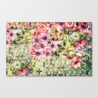 shabby chic Canvas Prints featuring Shabby Chic Floral by Joke Vermeer
