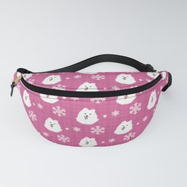 Samoyed on Winter Holiday Pattern(pink) Fanny Pack