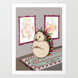 Hedgehog Artist Art Print