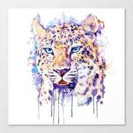 Watercolor Leopard Head Canvas Print