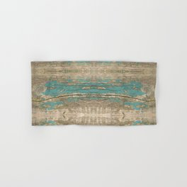 Rustic Wood - Beautiful Weathered Wooden Plank - knotty wood weathered turquoise paint Hand & Bath Towel