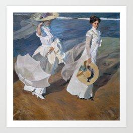 Joaquin Sorolla Y Bastida - Strolling along the seashore Art Print