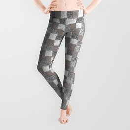 Rustic Charcoal Beige and Cream Patchwork Leggings
