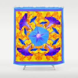 Baby Blue & Purple Morning Glories Art Shower Curtain