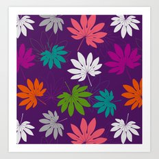 Purple tropical leaves Art Print