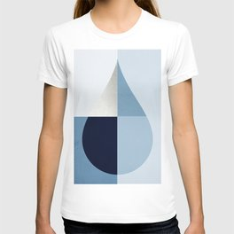 Geometric raindrop - chambray blues T-shirt