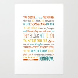 On Children: Kahlil Gibran Quote Typography Print Art Print