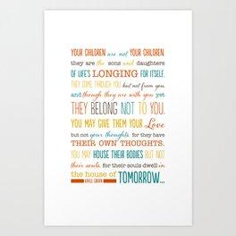 On Children: Kahlil Gibran Quote Typography Print Art Print