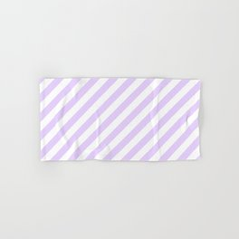 Chalky Pale Lilac Pastel and White Candy Cane Stripes Hand & Bath Towel