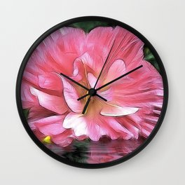 Pale Cistus with Reflection Wall Clock