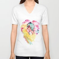 cherry V-neck T-shirts featuring Cherry by Paytno