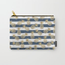 Modern nautical navy blue stripes faux gold pineapple Carry-All Pouch