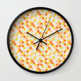Geometric Squares in Orange Wall Clock