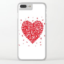 Heart - summer card design, red butterfly on white background Clear iPhone Case