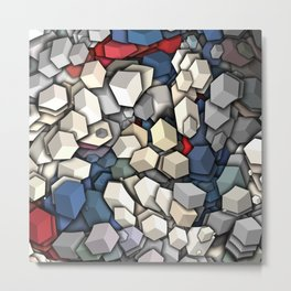 Patriotic Colors 3D Cubes Metal Print