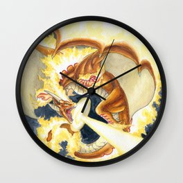 Burning Fire Dragon Wall Clock
