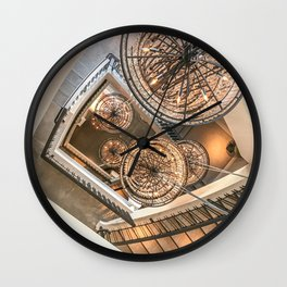 Abstract Perspective // Natural Lighting Ornamental Chandelier Stairway View Wall Clock