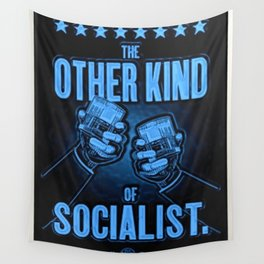 """Vintage Poster """"The Other Kind of Socialist"""" Alcoholic Lithograph Advertisement in dark blue Wall Tapestry"""