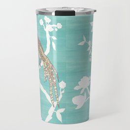 Chinoiserie Panels 4-5 White Scene on Teal Raw Silk - Casart Scenoiserie Collection Travel Mug