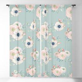 Dog Rose Pattern Mint Blackout Curtain
