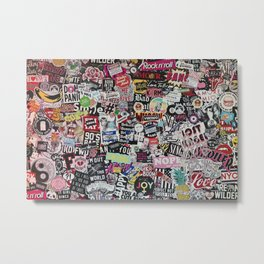 German urban wall full of stickers, street art. Metal Print