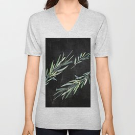 Eucalyptus leaves on chalkboard Unisex V-Neck