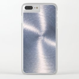 Silver Metallic Stainless Steel Pattern Clear iPhone Case