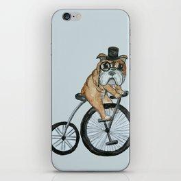English Bulldog Riding a Penny-farthing iPhone Skin