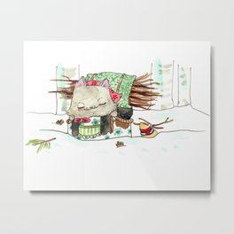 Baba Mouse Snow Walk Metal Print