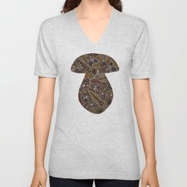 Funghi & Fern Forest, Fall Colors , Foraging for Woodland Mushrooms Brown, Orange Purple Unisex V-Neck