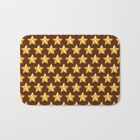 Gold Stars on Brown Background Bath Mat