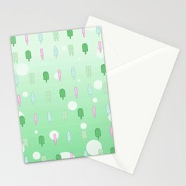 Kawaii Popsicles Green Stationery Cards