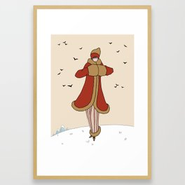 Art Deco Lady: BERNADETTE in Red and Gold Framed Art Print