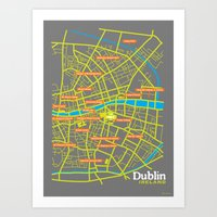 dublin Art Prints featuring Dublin by mattholleydesign