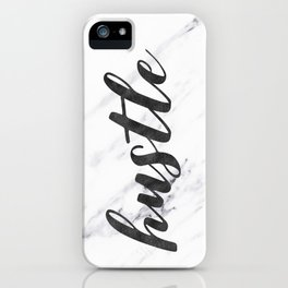 Hustle Text on Marble Black and White iPhone Case
