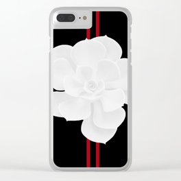 White Succulent On Black #decor #society6 #buyart Clear iPhone Case
